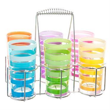 Coffret 6 verres multicolores
