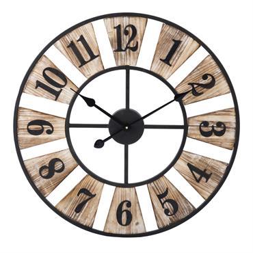 Horloge en métal et bois D 60 cm WOODY