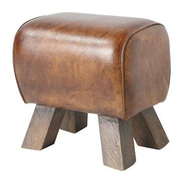 Tabouret marron en cuir et bois de rose LIVINGSTON