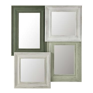 Miroir en bois vert/blanc H 91 cm JADE