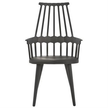 Chaise Comback / Polycarbonate & pieds bois - Kartell noir en matière plastique