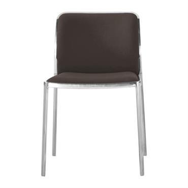 Chaise rembourrée Audrey Soft / Structure alu poli - Kartell marron en tissu