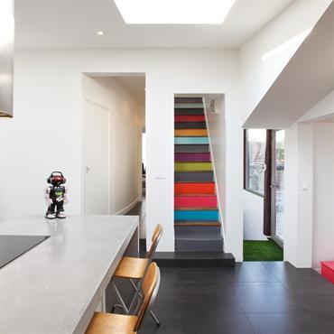 Escalier peint en couleur