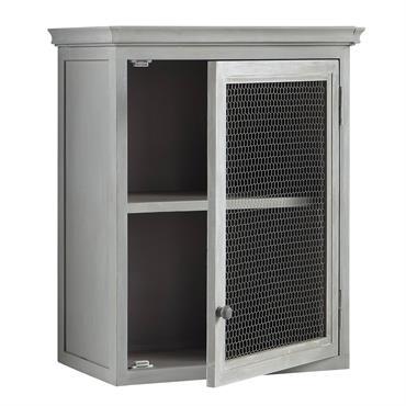 Meuble haut de cuisine 1 porte vitrée poignée à gauche gris L60 Zinc