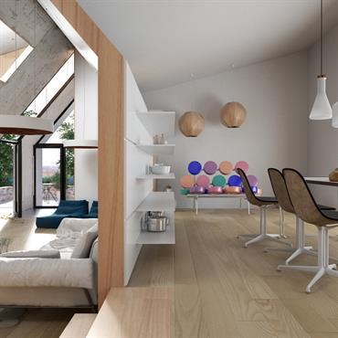 Grande pièce à vivre au style original grâce au mur en béton brut