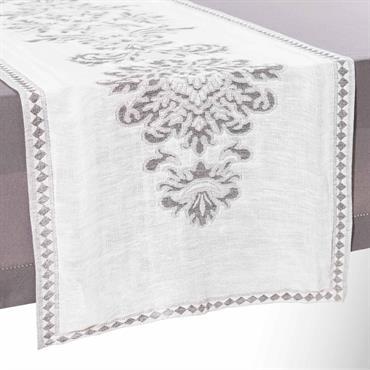 Chemin de table en lin blanc 48 x 150 cm ELIZABETH