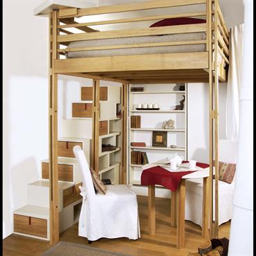 Mezzanine pour adultes modulable en Chêne, avec escalier aux rangements intégrés