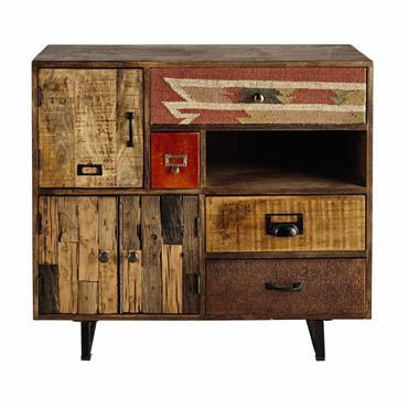 Cabinet de rangement 2 portes 4 tiroirs en manguier Kilim