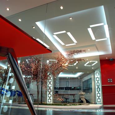 Bureaux direction. Faux plafond avec corniche lumineuses. Plancher technique