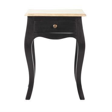 Table de chevet avec tiroir en manguier noir Versailles