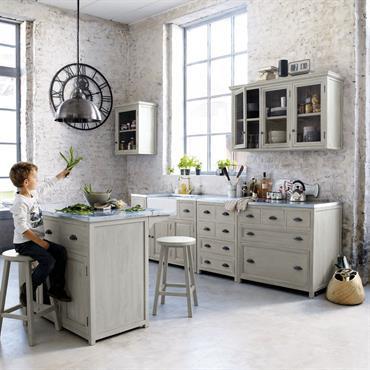 Meuble bas de cuisine avec évier en bois d'acacia gris L 120