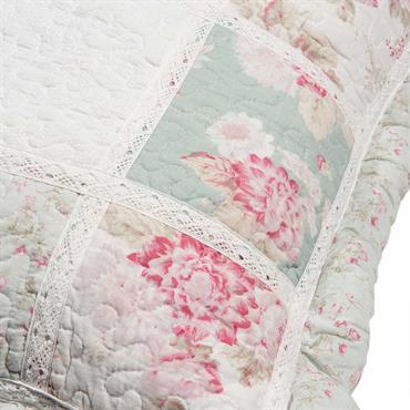 Coussin en coton vert et rose à motifs 60x60