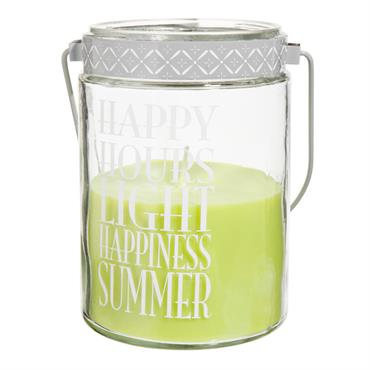 Bougie lanterne vert tilleul H 17 cm HAPPY
