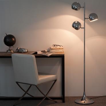 Lampadaire en aluminium chromé H 160 cm TRIO