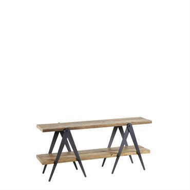 Console en bois de vieux pin et métal
