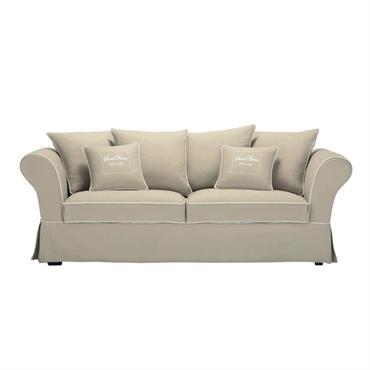 Canapé 3/4 places en coton beige Sweet home