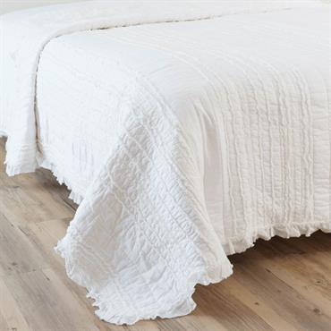 Boutis en coton blanc 240 x 260 cm ANNELISE