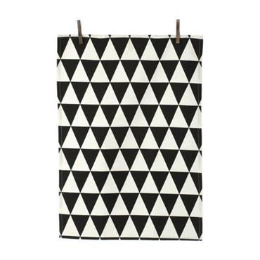 Torchon Triangle - Ferm Living noir en tissu