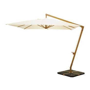 Avec son envergure de 3 m, ce parasol déporté carré vous protègera du soleil lors de vos déjeuners en terrasse. Doté d'un pied en aluminium fixé à une base en ...