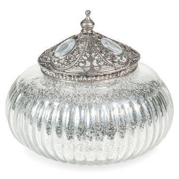 Boîte ronde en verre argenté ÉLÉONORE