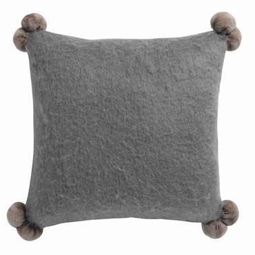 Coussin à pompons en laine gris 45 x 45 cm POMPONE