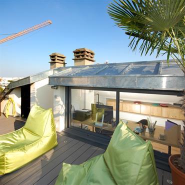 Terrasse en ville sur les toits