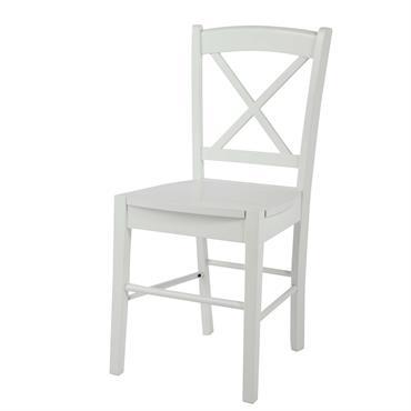 Chaise en hévéa blanc Newport