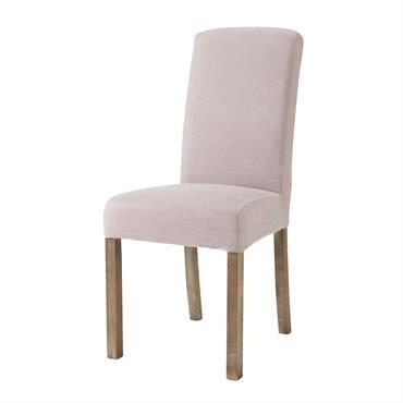 Housse de chaise en lin lavé rose Margaux