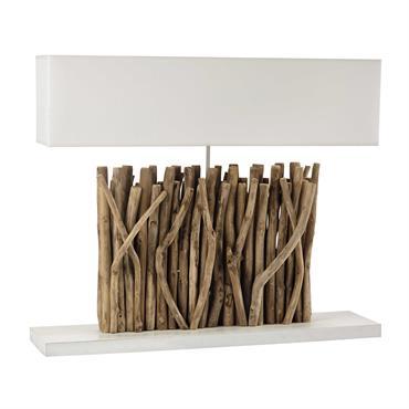 Lampe en bois et abat-jour en coton écru H 67 cm PATTAYA