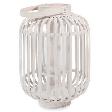 Lanterne en bambou blanchi H 33 cm ONDANGWA