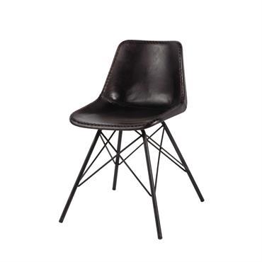 Chaise indus en cuir et métal noire Austerlitz