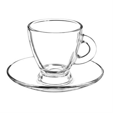 Tasse et soucoupe en verre ROMA