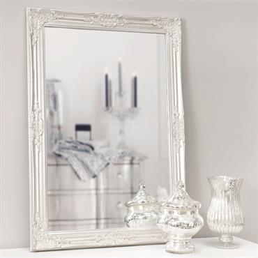 Miroir en pin et paulownia argenté H 104 cm ENZO
