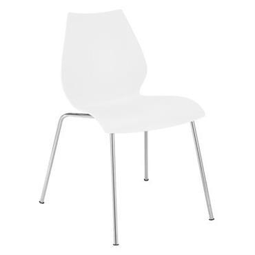Chaise empilable Maui / Plastique & pieds métal - Kartell blanc