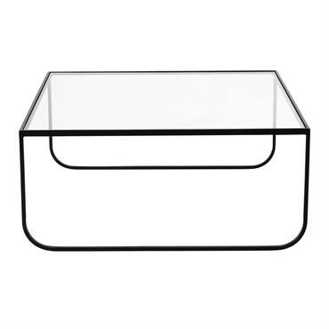 Table basse carrée en métal et verre trempé L 90 cm Dixon