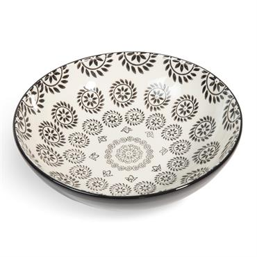 Assiette creuse en faïence noire/blanche D 20 cm CHIANG MAI