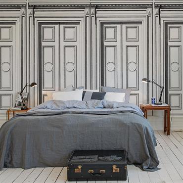 Panneau trompe l'oeil en tête de lit imitation portes