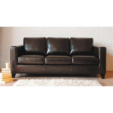 Canapé-lit 3 places en croûte de cuir marron Kennedy