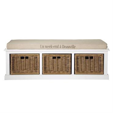 Banc de rangement 3 compartiments blanc Comptoir des épices