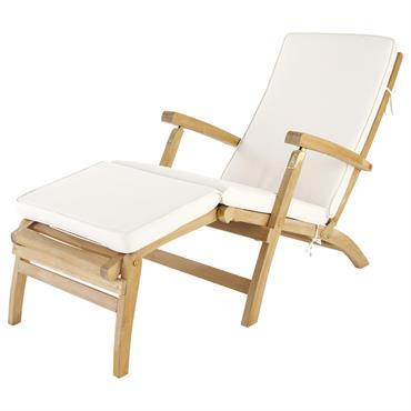 Matelas chaise longue écru L 185 cm Oléron