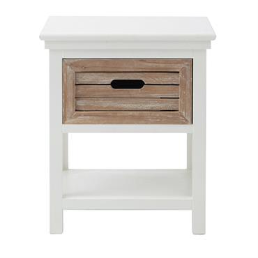 Table de chevet avec tiroir en sapin blanche Ouessant