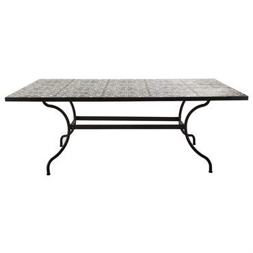 Table à manger en métal et carreaux de ciment 6/8 personnes L200 Rosa
