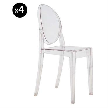 Chaise empilable Victoria Ghost / Lot de 4 - Kartell cristal