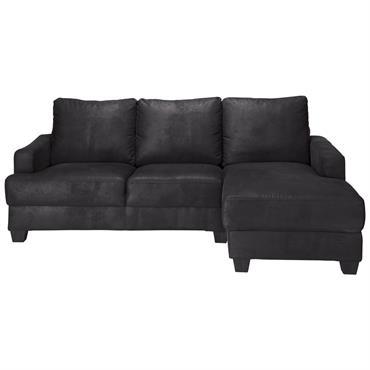 Canapé d'angle droit 3/4 places en microsuède noire Philadelphie