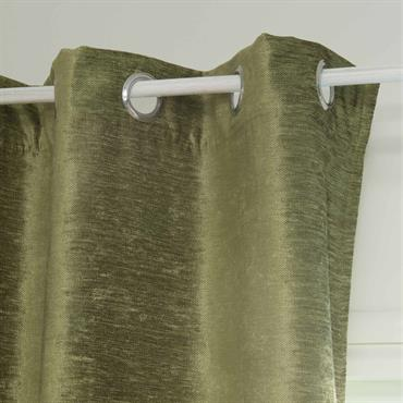 Rideau à œillets en velours vert 140 x 300 cm VINTAGE VELVET LIANE