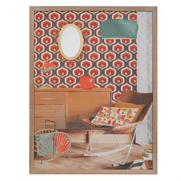 Tableau en bois 65 x 85 cm SEVENTIES ROOM