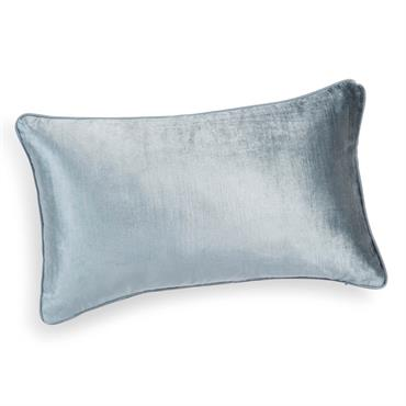Housse de coussin en lin et velours bleu cendre 30 x 50