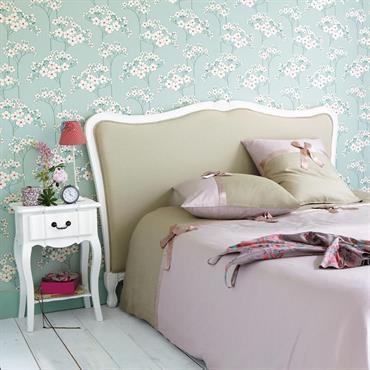 Table de chevet avec tiroir en bois de paulownia blanche L 44