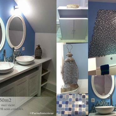 Salle de bains bleue, esprit marin