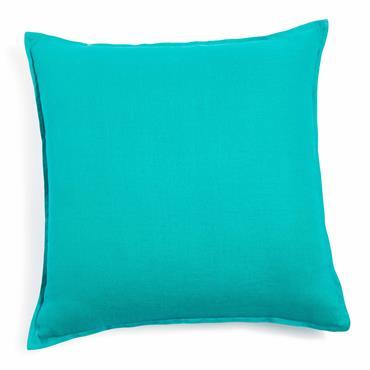 Coussin en lin lavé turquoise 50 x 50 cm